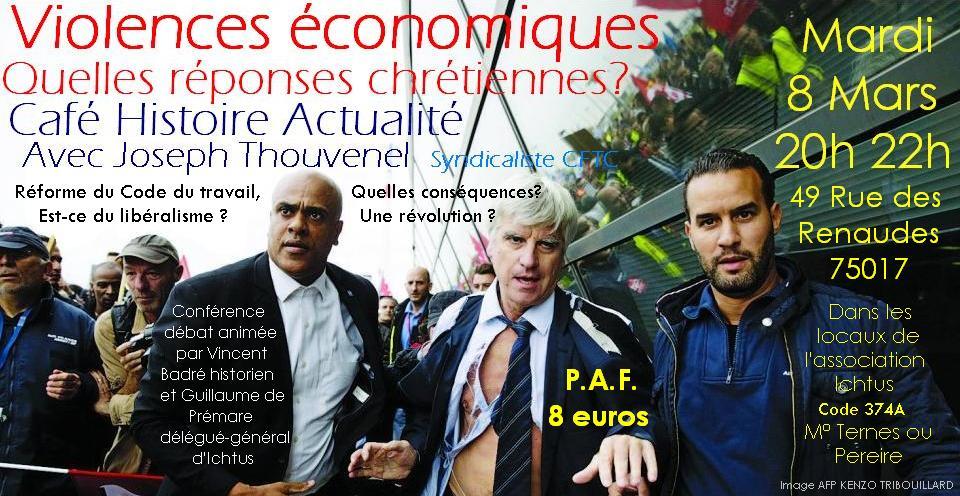 Café Histoire actualité 8 mars Violences économiques et chrétiens sociaux